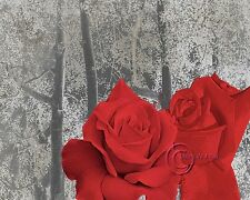 Pair of Roses-Red Floral Home Decor Picture Wall Art Livingroom Bedroom1