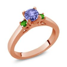 0.60 Ct Round Tanzanite and Simulated Tsavorite 925 Rose Gold Plated Silver Ring