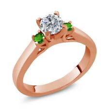 0.64 Ct Round Diamond Green Simulated Tsavorite 925 Rose Gold Plated Silver Ring