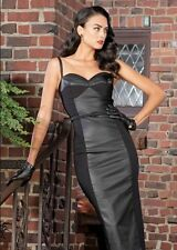 Stop Staring! Vega Wiggle Black Dress with Faux Leather Inset