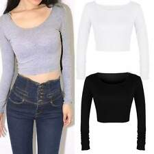 Brand New European Women Long Sleeve Crop Top Round Neck T Shirt #L Cropped Tops