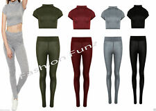 Womens Knitted Marl Polo Neck Crop Top Legging Tracksuit Co Ordinate 2piece Set