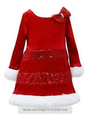 Girls BONNIE JEAN Santa Claus Holiday CHRISTMAS Dress Size 2T 4T 5 6 Red Sequins
