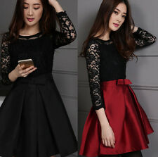 Spring Autumn Trendy Womens Lace Stitching Mid Sleeve Bowknot Belt Mini Dress