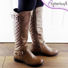 Quilted Khaki Womens boots two buckles Fur lined LOW HEEL Ladies size Free post