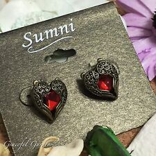 ER2954 Vintage Style Bronze Tone Angel Wing Red Heart Stud Earrings