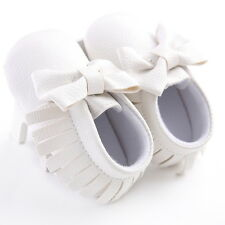 White Beautiful Cute Bow Baby Girl Toddler Soft Infant Moccasins Baby Shoes0-18M
