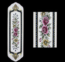 White Porcelain Ceramic Door Finger Push Plates Victoriana Flower Design