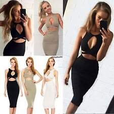 New Women Sexy Sleeveless Cut Out Bandage Bodycon Stretch Club Party Dress OO55