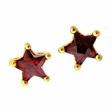 Yellow Gold Filled Childrens Ruby/Crystal Star Stud Earrings For Kids/Women
