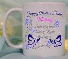 PERSONALISED HAPPY MOTHERS DAY MUG/COASTER, BUTTERFLIES & NAMES, PRESENT GIFT