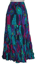 """LADIES CRINKLE COTTON TIERED HIPPY BOHO GYPSY  SKIRT - 36"""" LENGTH S/M, L/XL"""