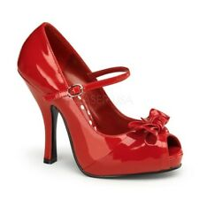 Pin Up Couture CUTIEPIE-08 Platforms Red Patent Mary Jane Open Toe High Heels