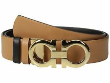 $395 NEW Salvatore Ferragamo Black Brwn Leather Belt Remove Gancio Buckle Resize