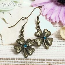 ER2971 Graceful Garden Vintage Style Crystal Lucky Four-Leaf Clover Earrings