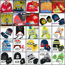 *NEW Boys CARS SPIDERMAN SPONGEBOB Star Wars  KNIT HAT GLOVES SET