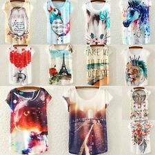 Printed Womens Short Sleeve Loose T-shirt Tops Blouse Girl Casual Tank Shirt Tee