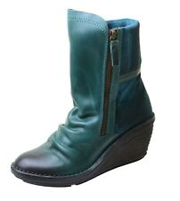 Fly London Ladies Biker Boots Simi with Wedge Heel in Petrol