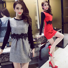 Spring Fashion Womens Autumn Woolen Beaded Lace Long Sleeve A Line Mini Dress