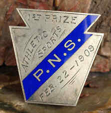 VINTAGE ENAMELED STERLING 1909 PENNSYLVANIA NAUTICAL SCHOOL ATHLETIC AWARD PIN