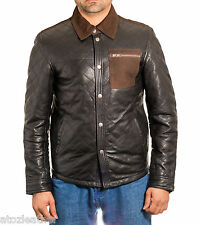 Mens Black Real Leather Shirt Style Denim Jacket with Brown Con tress Detail