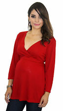 Red Maternity Long Sleeve 3/4 Sleeve Maternity Pregnancy Top V-Neck S M L XL