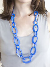 NEW Fashion Womens, Sirocco Blue Resin Long Necklace