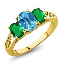 2.10 Ct Checkerboard Swiss Blue Topaz Simulated Emerald 14K Yellow Gold Ring