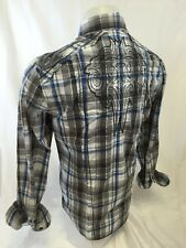 Mens HOUSE OF LORDS Button Down Shirt Tribal Plaid Blue Embroidery 3019 NWT