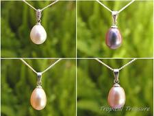 Pearl Pendant - 4 colours + 40cm 925 SOLID  Silver Curb chain