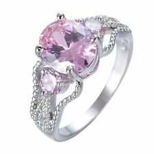 Size 6-11 CZ Oval Pink Sapphire Ring Women 10K White Gold Filled Wedding Jewelry