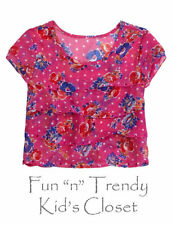 NWT Justice Girls Size 12 Pink Floral Tiered Chiffon Ruffle Cropped Top Shirt