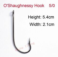 Lot 5/0 Chemically Sharpened Black Coated O'shaughnessy Fishing Hooks 9255