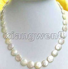 "SALE Big 11-12mm WHITE Natural freshwater COIN shape PEARL 17"" NECKLACE-nec0201"