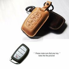 4Button Stitched Smart Key Leather Case Cover Holder Pouch BRON-6 for HYUNDAI