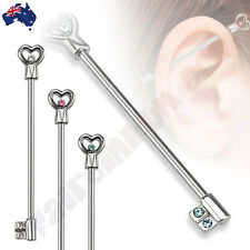 1 x 35mm 316L Surgical Steel, Jeweled Heart Key Industrial Barbell Ear Ring