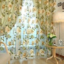Voile Door Curtain Window Room Drape Panel Floral Peony Scarf Sheer Valance HYDG