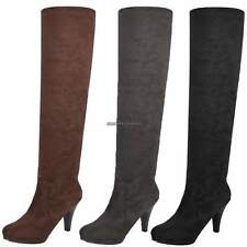 Women Over Knee Thigh High Stiletto Heel Platform Stretch Boot US HOT