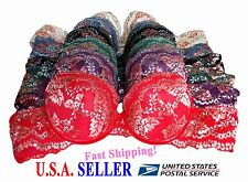 Pack of 6 Bras Full Coverage Underwire Floral Laced Light Pad 6 colors- 38C