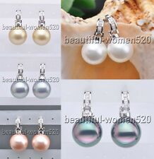 X0110 16mm Round SOUTH SEA SHELL PEARL Inlay Crystal Dangle Earring