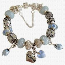 Cool Powder BLUE Charm Bracelet PEARLS & CRYSTAL Swarovski Elements GIFT BOX