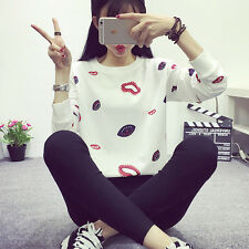 New Casual Women Sexy Lip Print Loose Pullover Shirt  Long Sleeve Tops Blouse