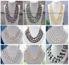 X0009 3row 14mm coin freshwater pearl necklace