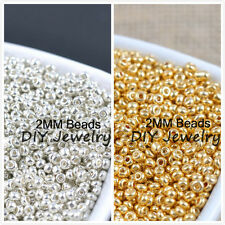 Czech 1000pcs 16g 2mm Round Opaque Silver Gold Glass Seed Beads Jewelry Making