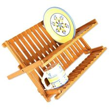 Dish Drainer Foldable Plate Storage Kitchen Bamboo Wooden Rack Draining Board
