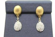 0.38Ct Diamond Oval Shaped Pave Set Drop/Dangle Earring in 14K Two-Tone Gold