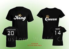 "Couple Custom T-Shirt ""Together Since King & Queen T-Shirts Love Put the Dates"