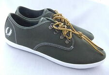 NEW FRED PERRY B8010 FOXX MENS TWILL OLIVE GREEN CANVAS TRAINERS