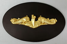 USN US NAVY SUBMARINE WARFARE INSIGNIA SUBBY GOLD SILVER DOLPHINS RETIRED PLAQUE