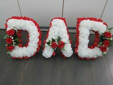 DAD Funeral Flowers Grave Cemetery Floral Tribute Based Oasis Artificial Letters
